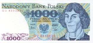 Copernicus on the old Polish note