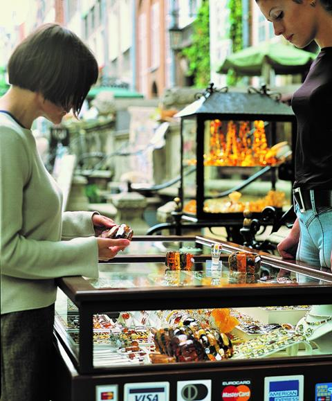 Mariacka street in Gdansk, shops with amber jewellery. Group travel tour – Hit The Road Travel