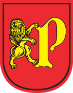 The coat of arms of Pruszcz Gdanski